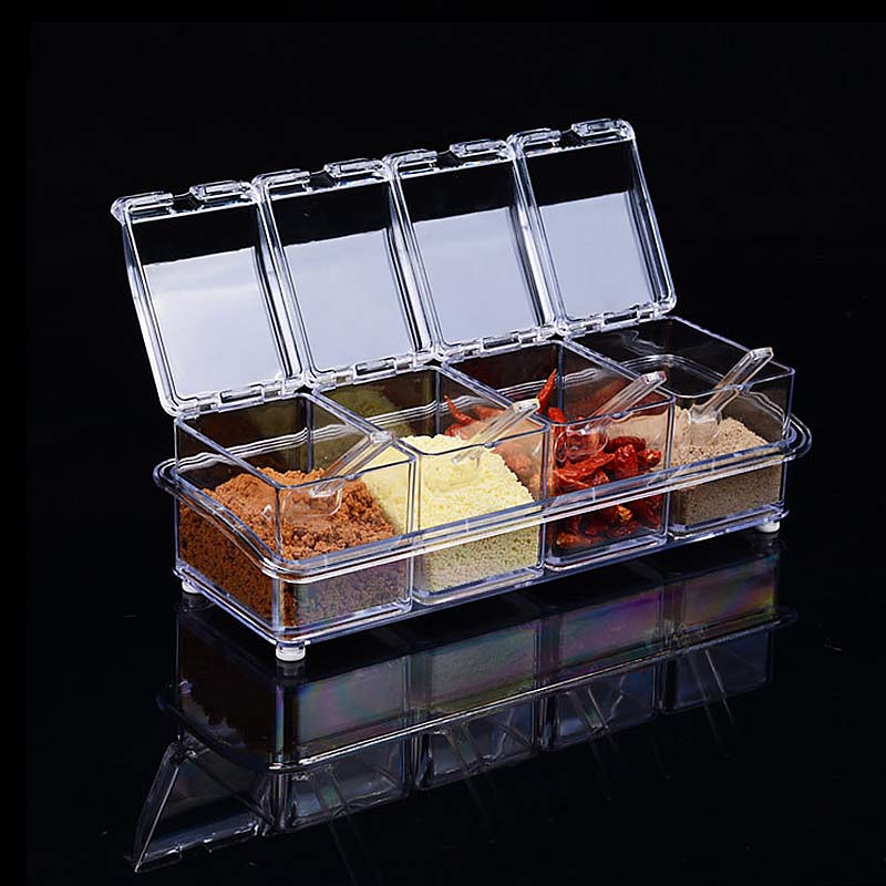 clear seasoning rack spice pots 4 piece storage container condiment jars acrylic seasoning box with cover and spoon